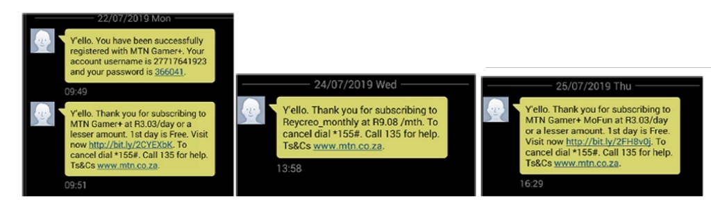 subscrição mensagens sms