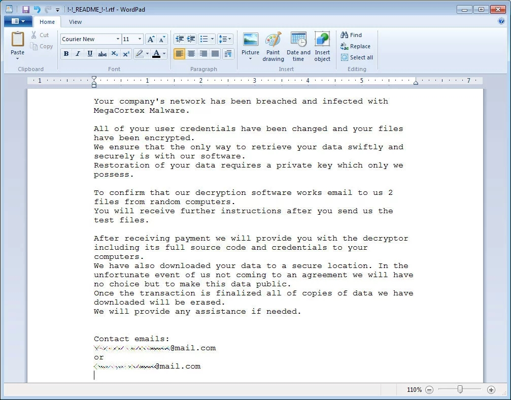 mensagem do ransomware