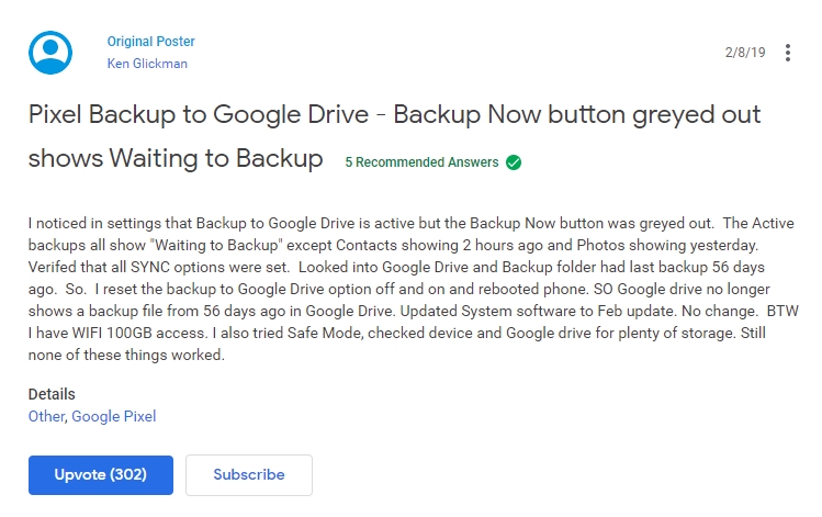 backup google android suporte
