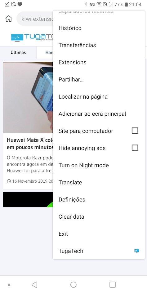kiwi navegador extensões