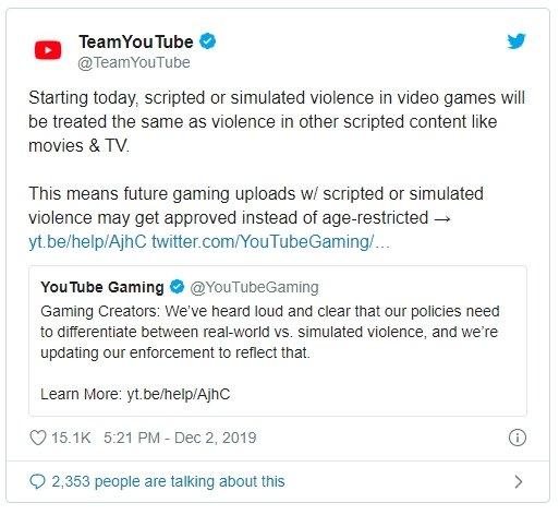 alteração youtube termos vídeos violentos jogos