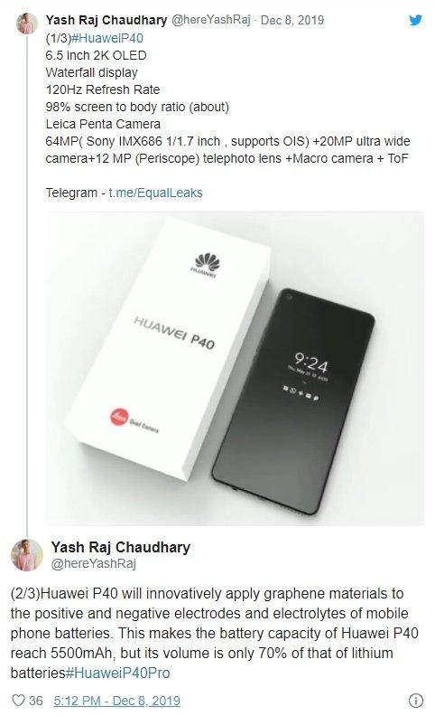 rumores bateria Huawei p40