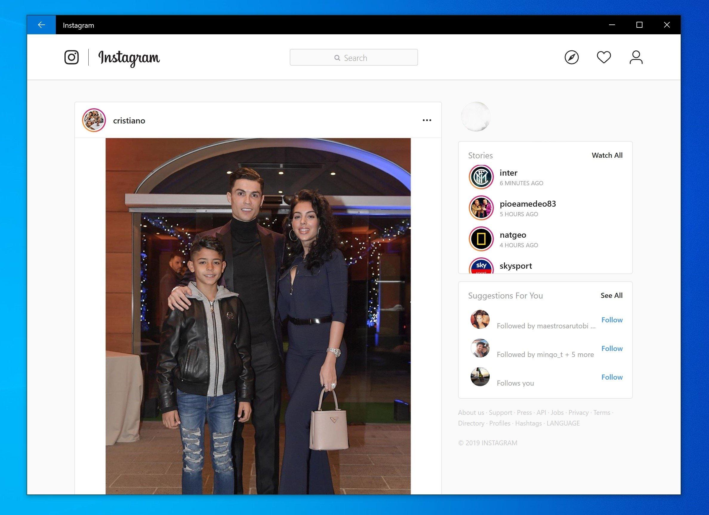 windows 10 Instagram nova app
