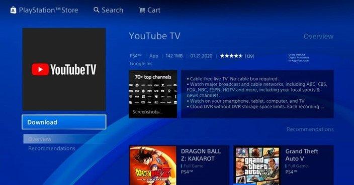 YouTube tv app PlayStation 4