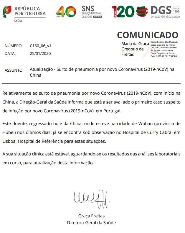 caso suspeito vírus portugal