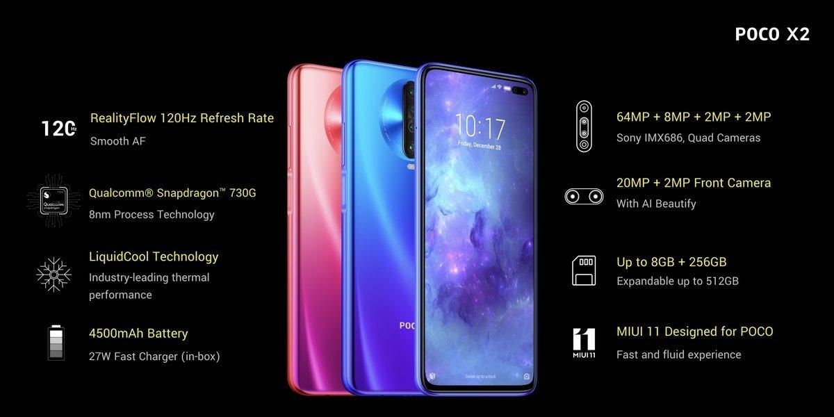 características do smartphone poco x2