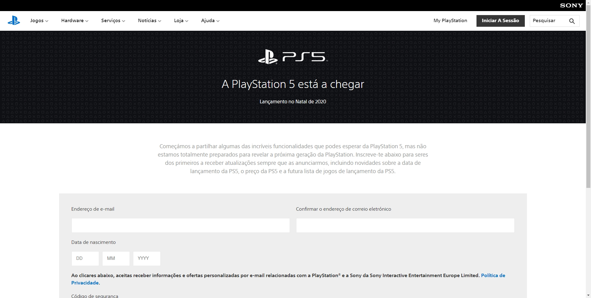 site oficial da PlayStation 5