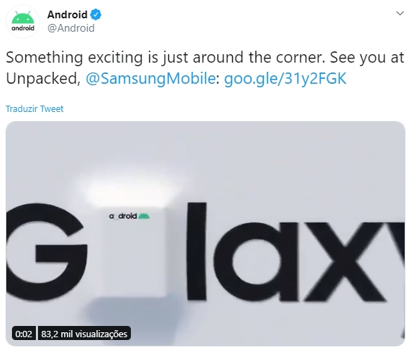 tweet do android sobre evento unpacked da samsung