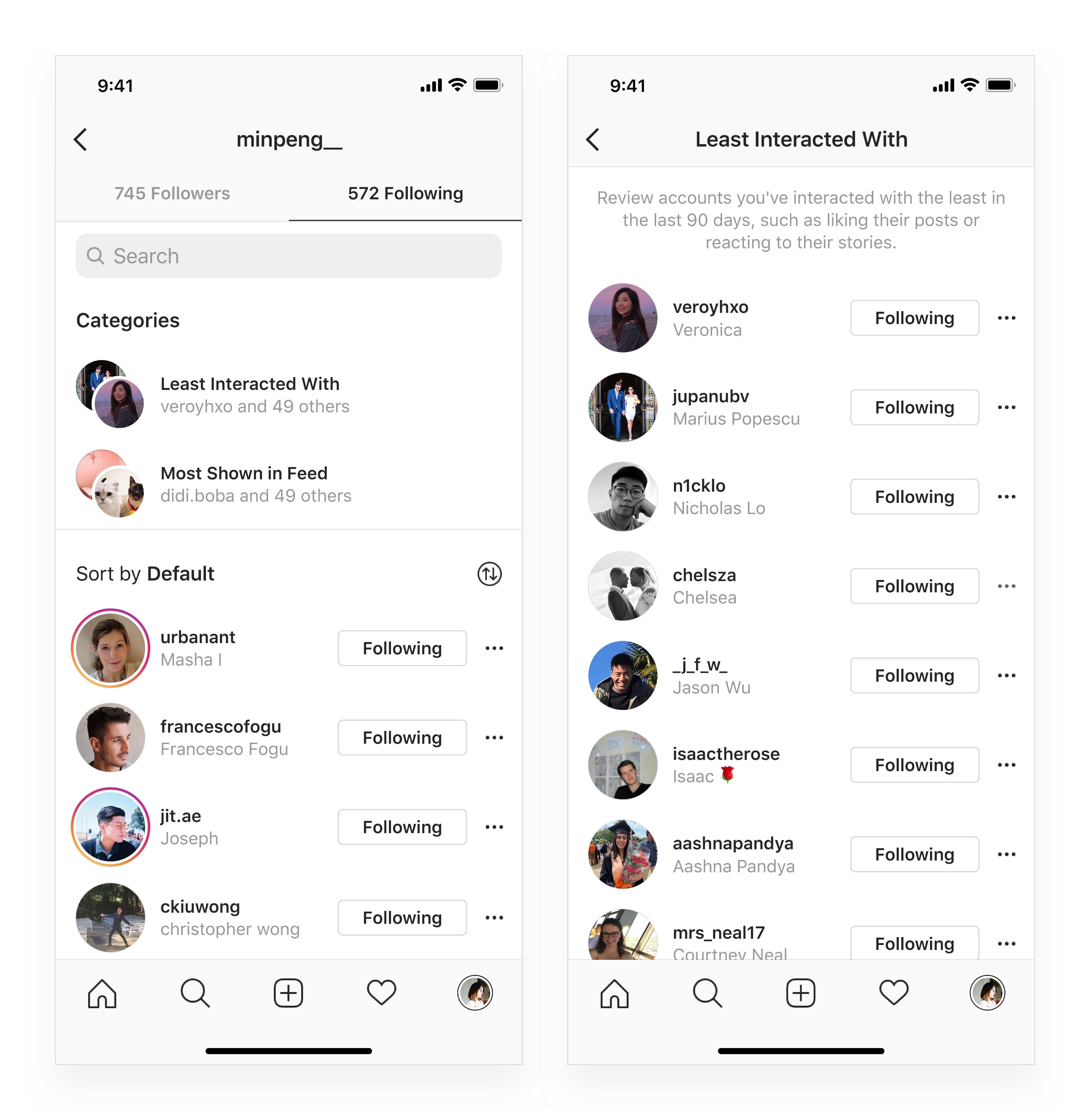 filtragem de contas menos interagidas no instagram