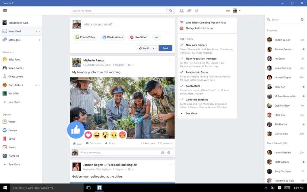 Facebook aplicação para Windows 10