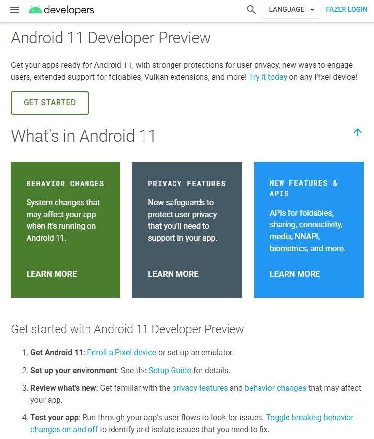 android 11 no site da google