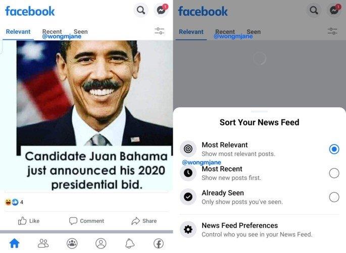 exemplo das abas no facebook