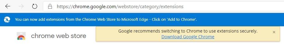 chrome web Store pelo edge