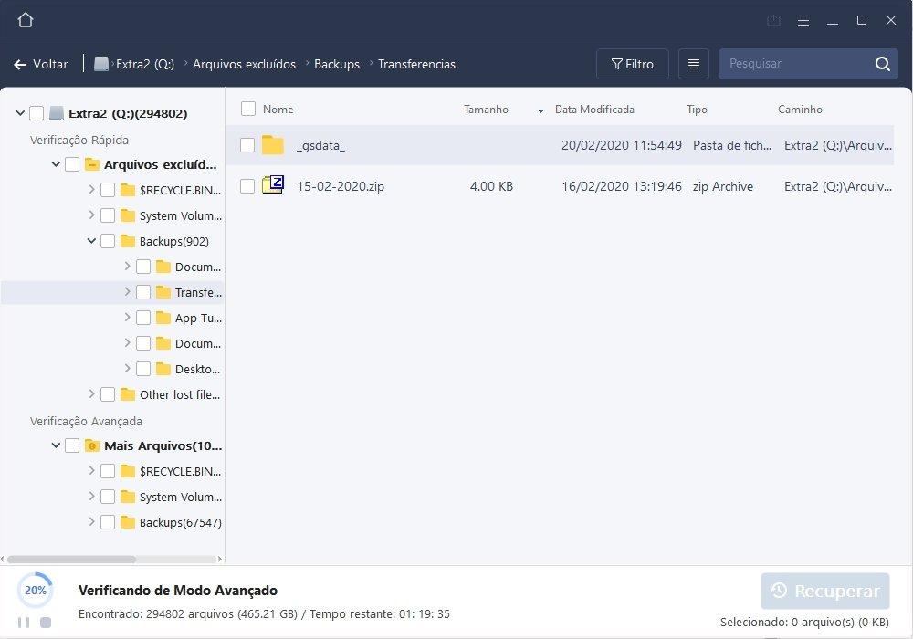 recuperação ficheiros EaseUS Data Recovery Wizard