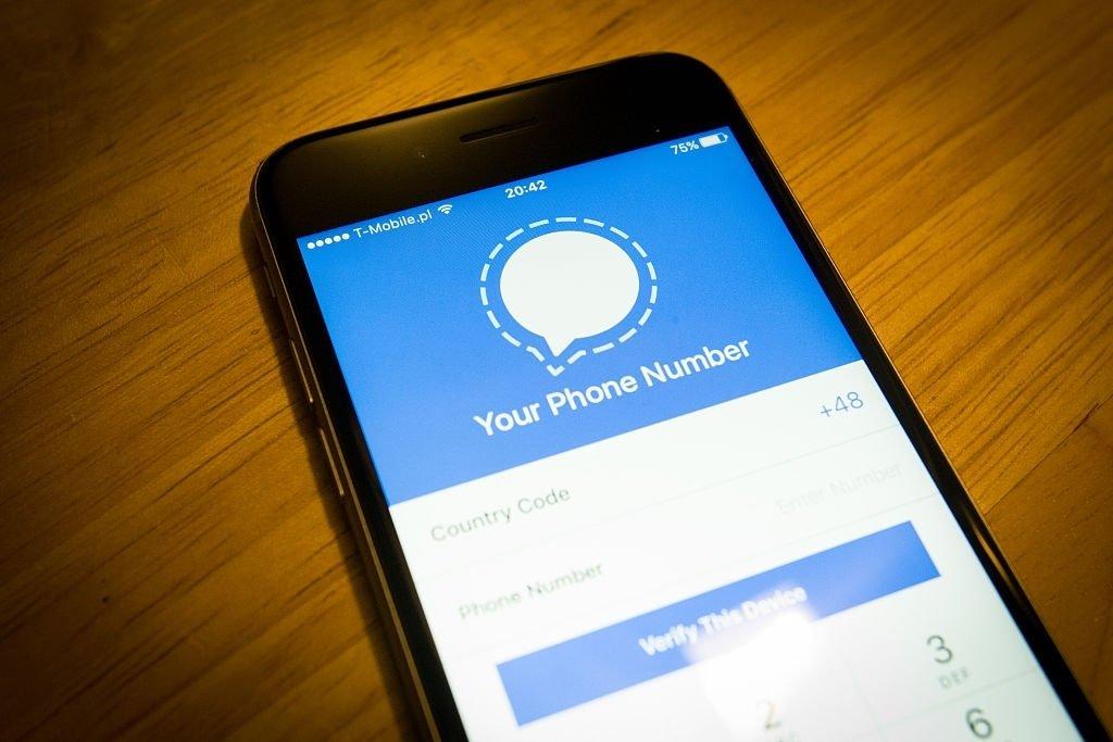 Signal app em smartphone