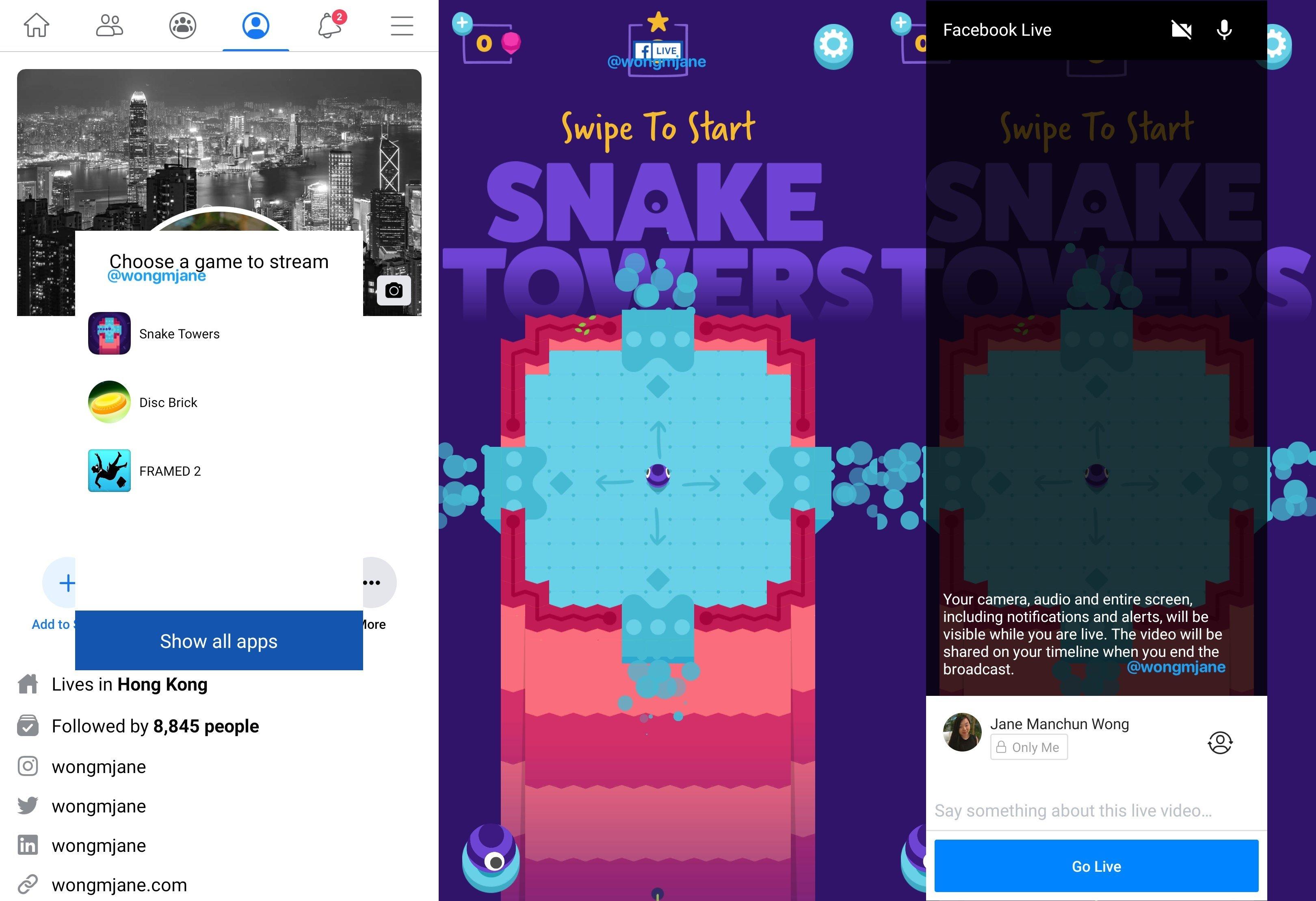 funcionalidade facebook live gaming