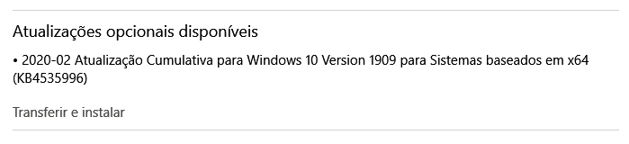 nova atualização windows 10