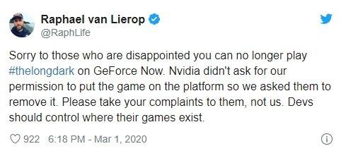 Nvidia GeForce jogo removido por ter sido colocado em permissão