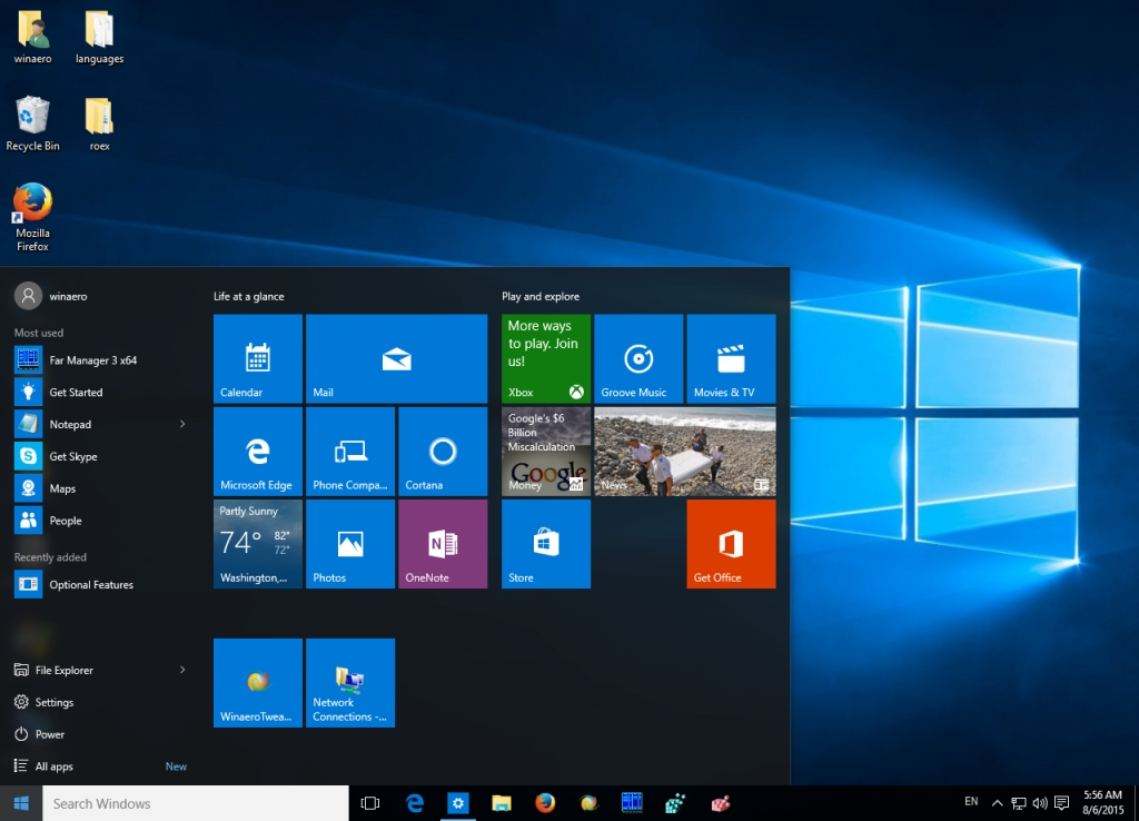 Windows 10 menu inicial