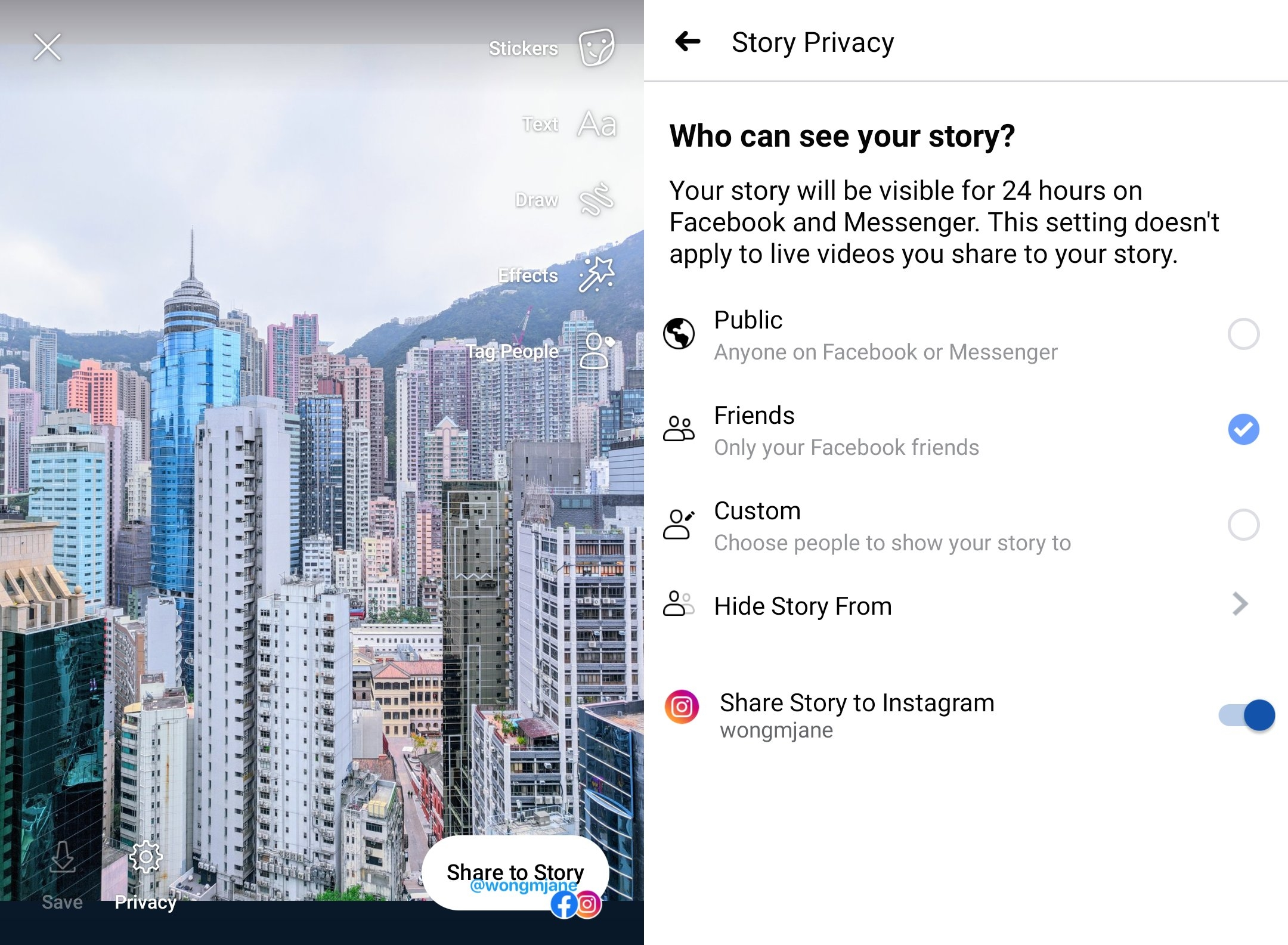 facebook partilha para o Instagram das stories