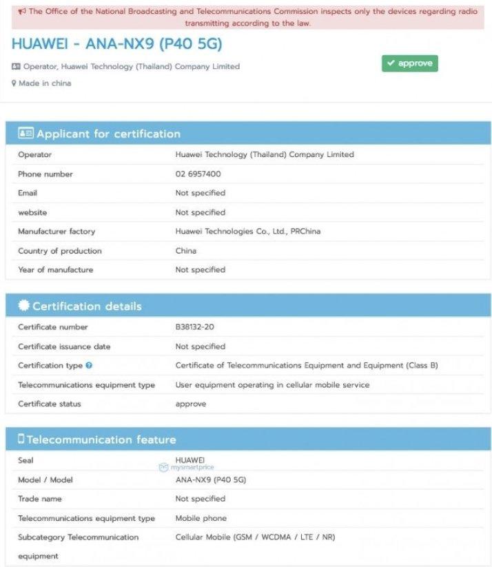 certificação Huawei p40
