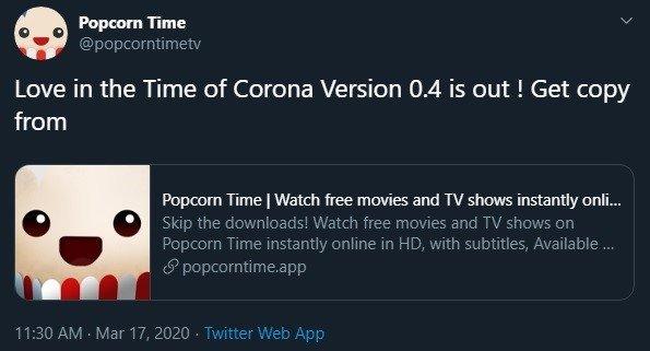 tweet publicado sobre o popcorn time