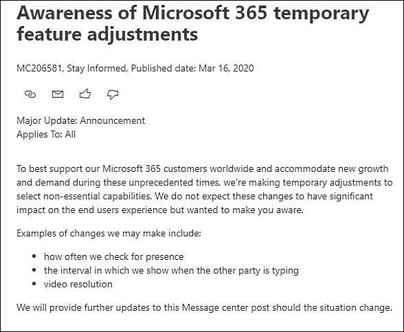 alterações office 365