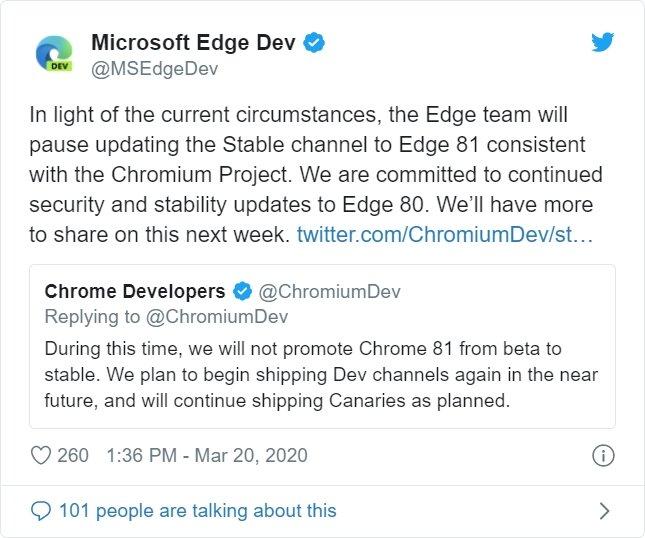 comunicado da Microsoft sobre o edge