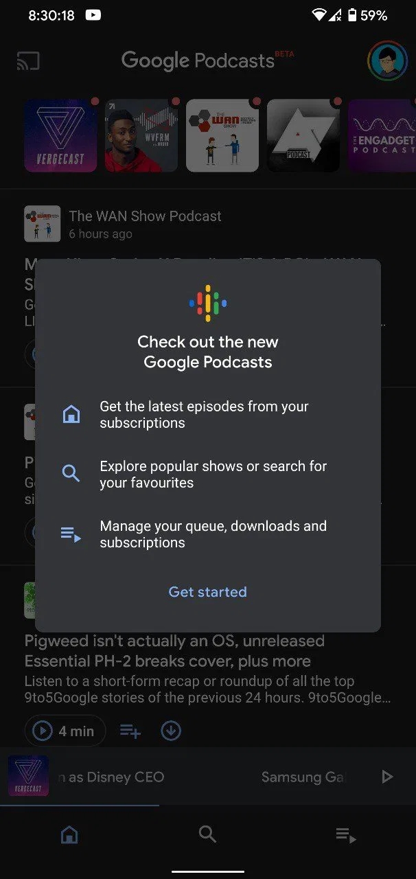 nova interface google podcasts