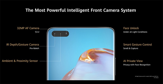 câmara frontal P40 huawei