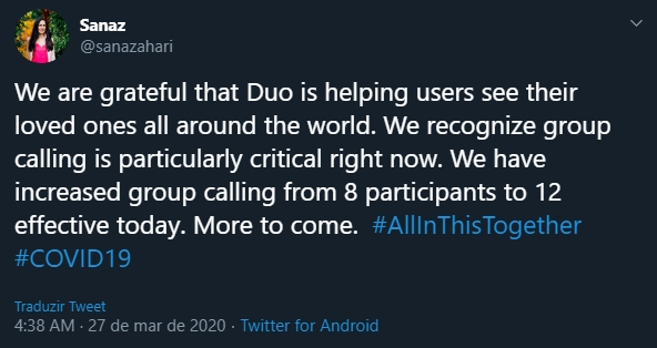 aumento google duo participantes