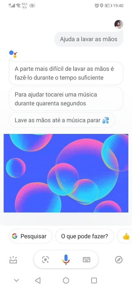 Google assistente lavar as mãos