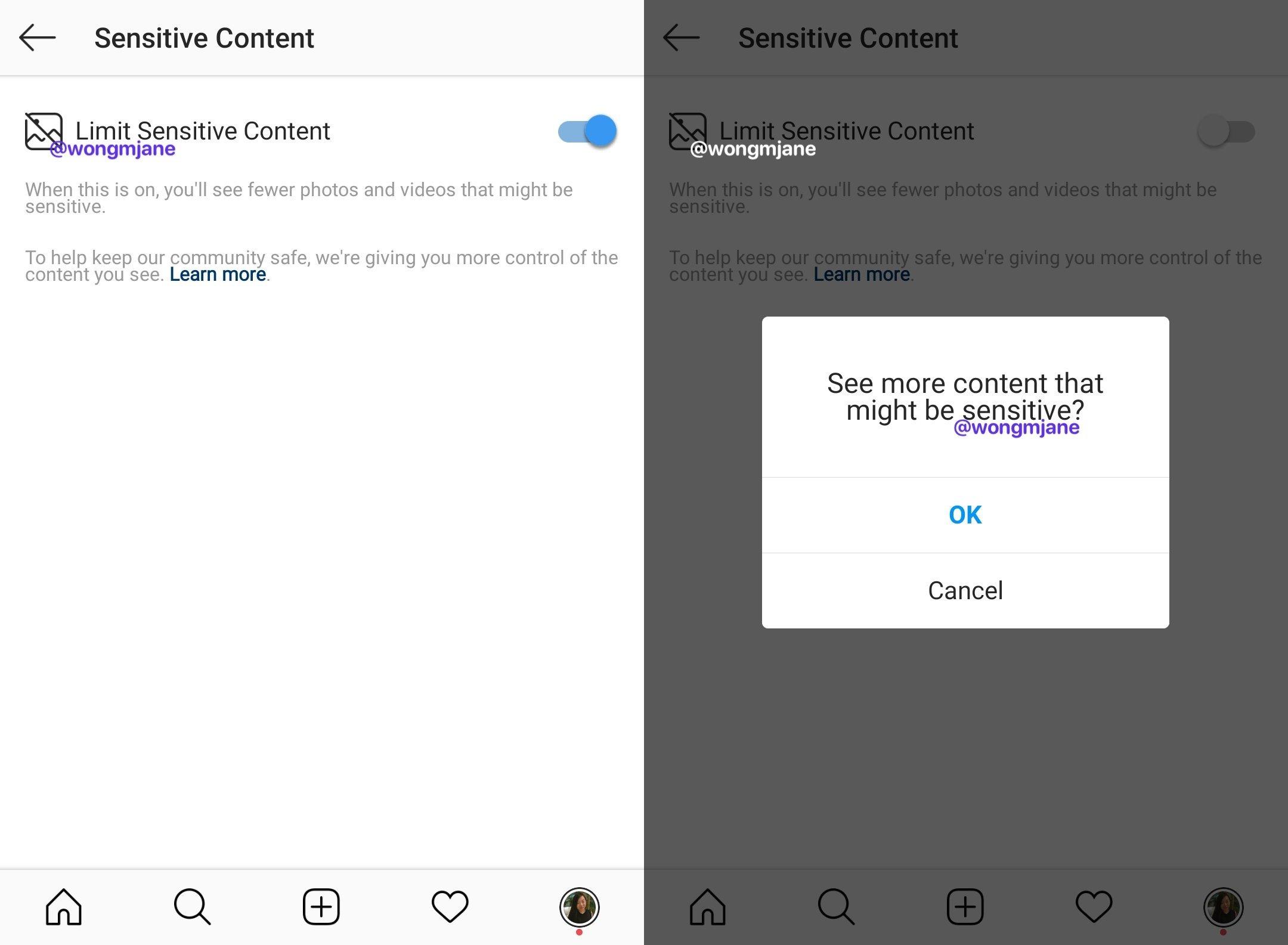 conteúdos sensíveis do instagram