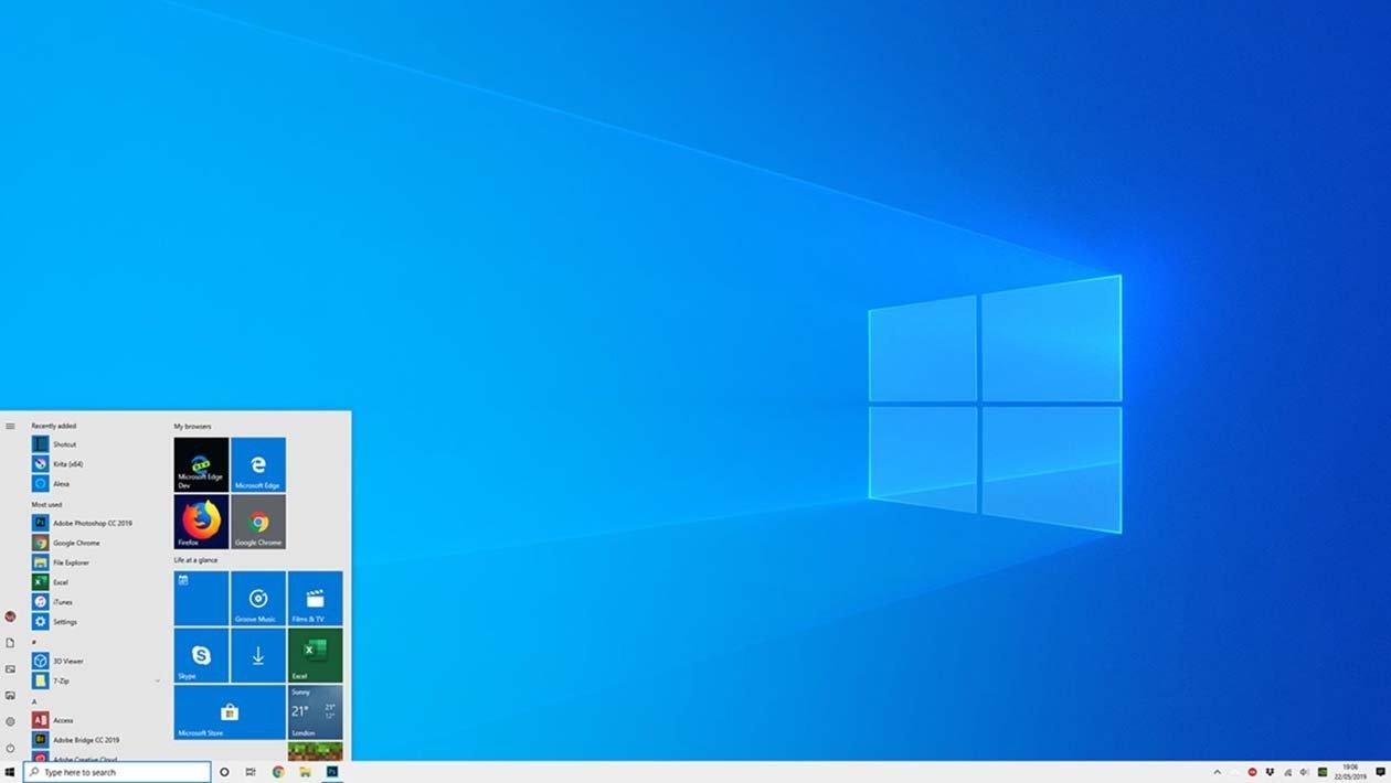 Windows 10 sistema operativo ambiente de trabalho