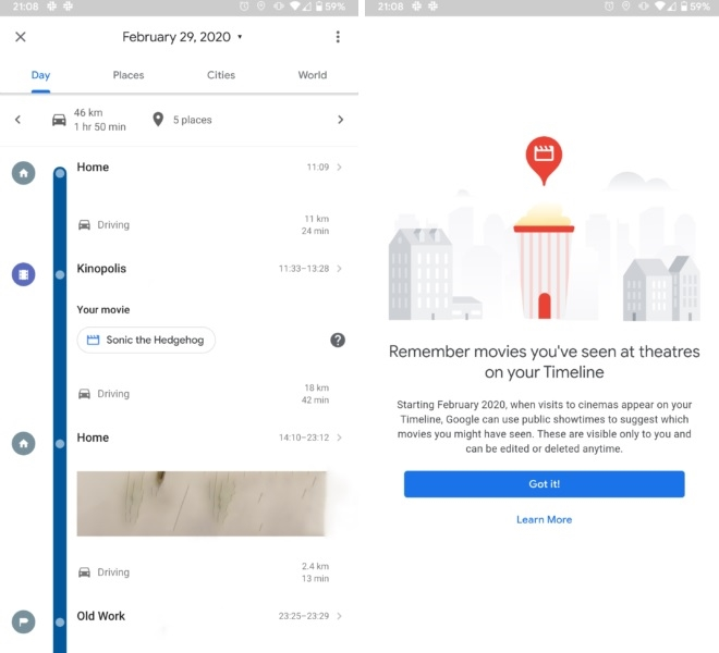 funcionalidade google maps cinemas