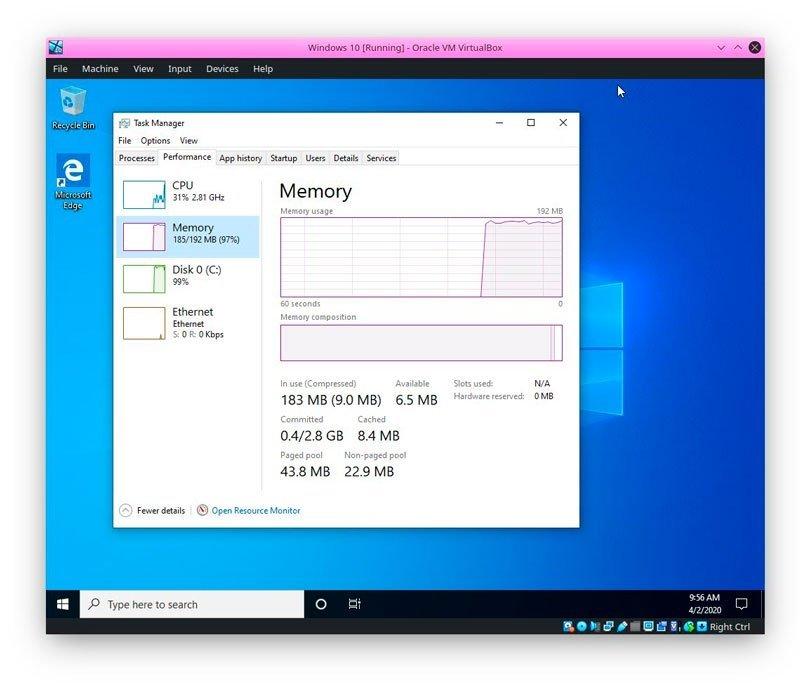capacidade do windows 10 em 192MB de RAM