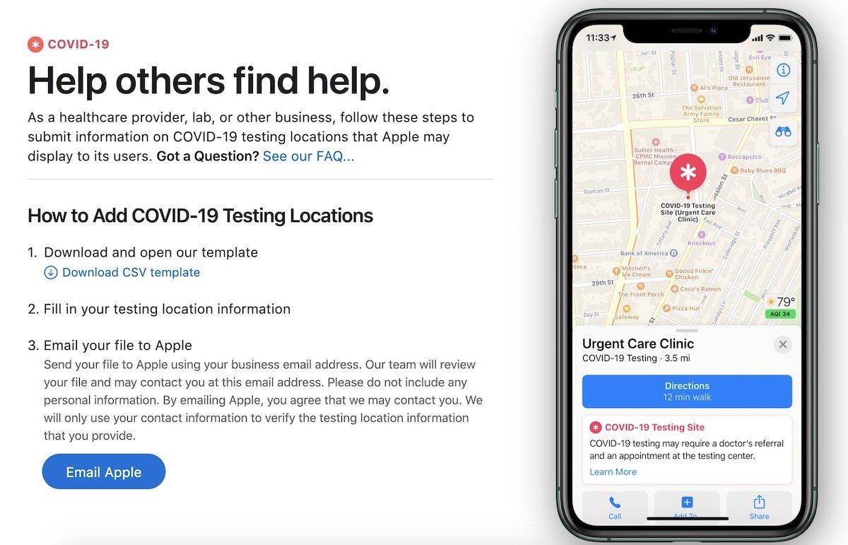 Apple maps centro de testes covid-19