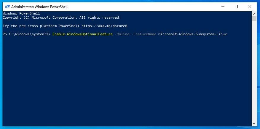 linha de powershell windows ativar subsistema linux