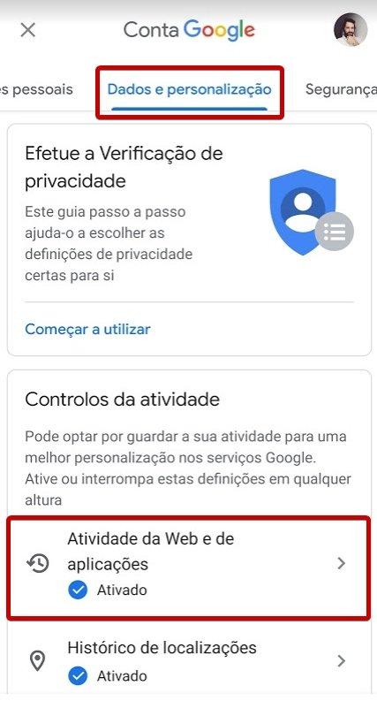 Conta google dados