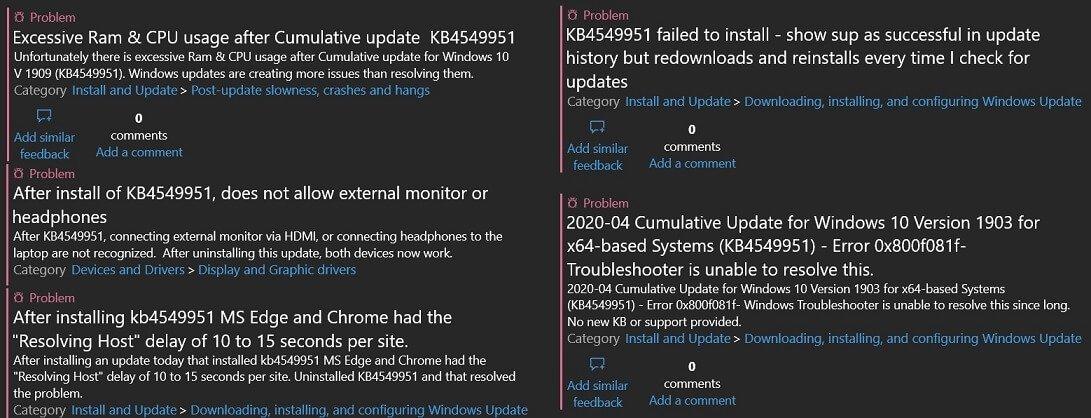 falhas do Windows 10 fóruns microsoft