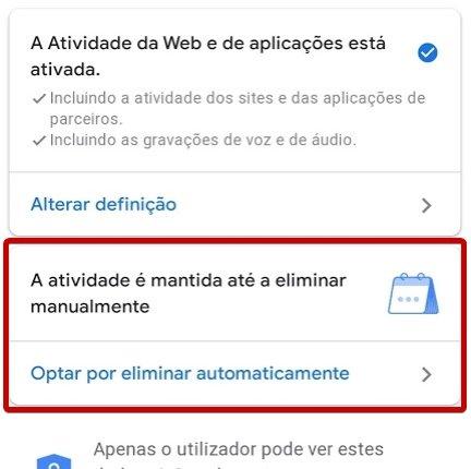 Conta Google remover dados automaticamente