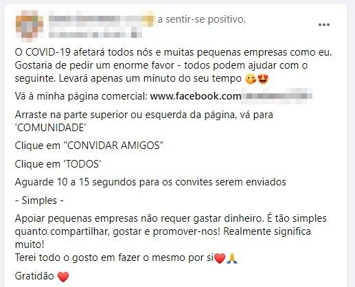 exemplo mensagem viral páginas facebook