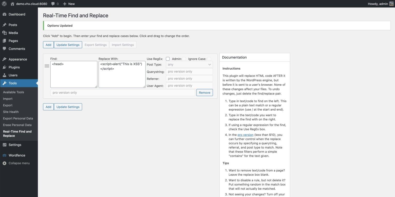 código do plugin e página de adminitração