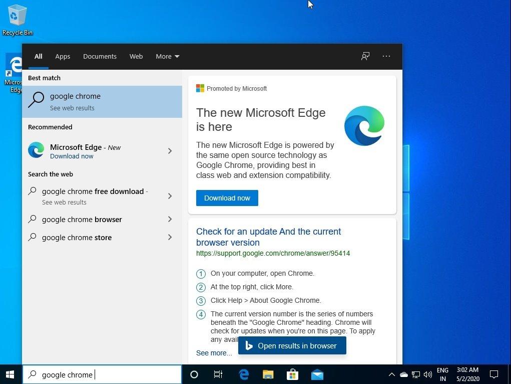recomendação edge Microsoft windows
