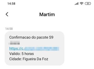 mensagem SMS falsa