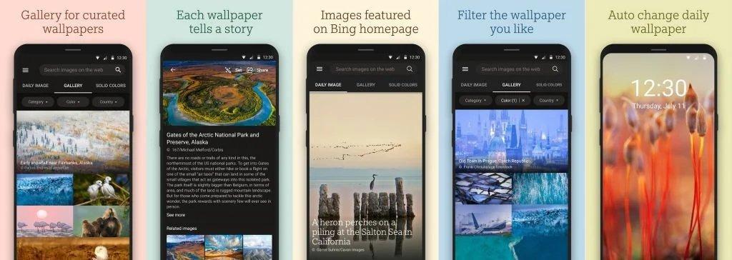 aplicação wallpapers bing android