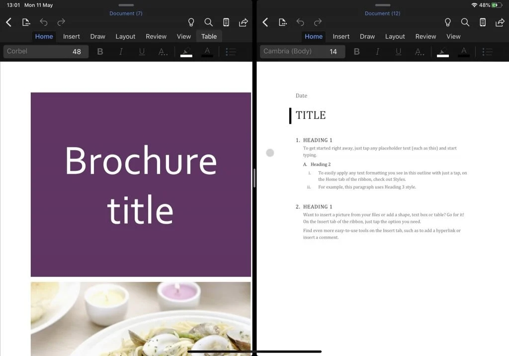 Ecrã dividido office iPad