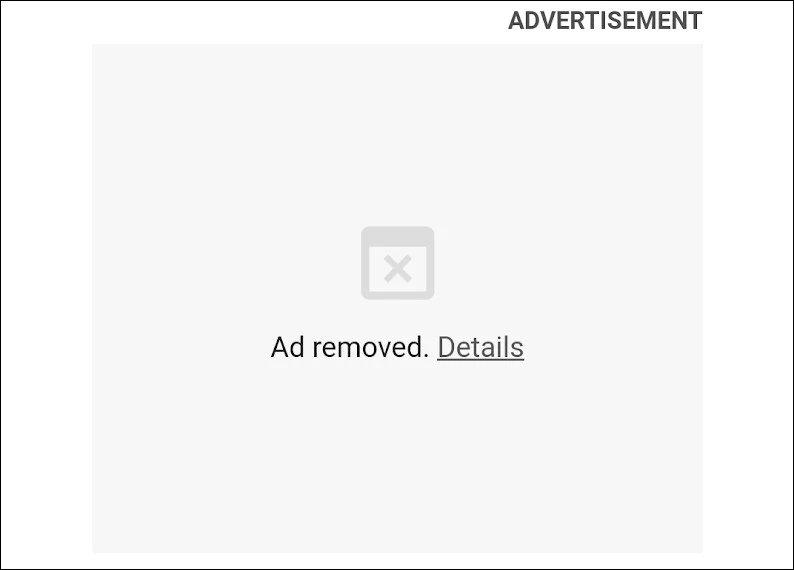 exemplo de publicidade removida
