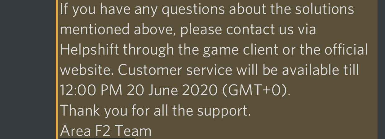 mensagem dos criadores do jogo