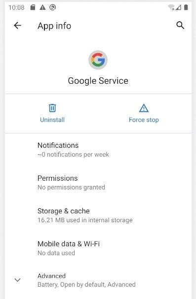 malware para android google service